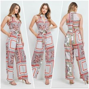 Paisley pocketed Red Wide leg sleeveless Jumpsuit
